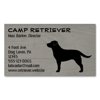 Black Labrador Retriever Silhouette Magnetic Business Card