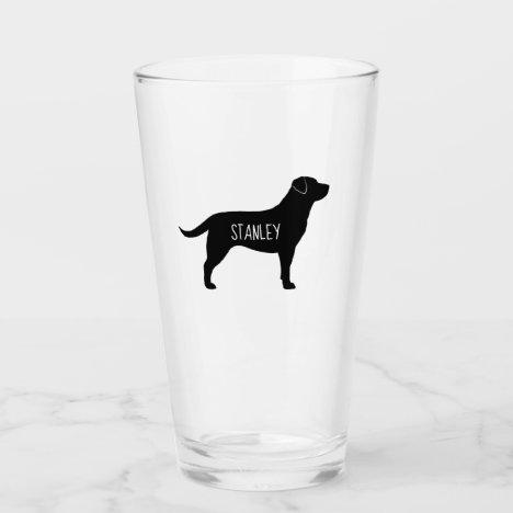 Black Labrador Retriever Silhouette Personalized Glass