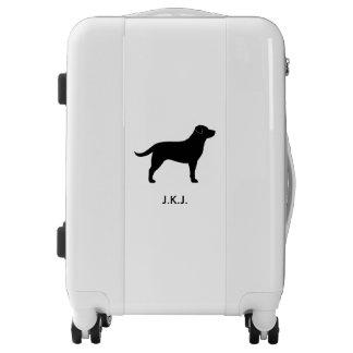 Black Labrador Retriever Silhouette Personalized Luggage