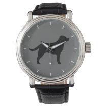 Black Labrador Retriever Silhouette Wrist Watch