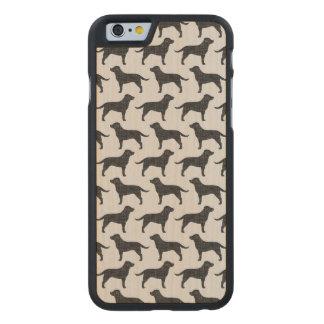 Black Labrador Retriever Silhouettes Pattern Carved Maple iPhone 6 Slim Case