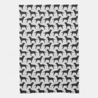 Black Labrador Retriever Silhouettes Pattern Kitchen Towel