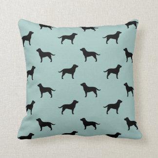 Black Labrador Retriever Silhouettes Pattern Throw Pillow