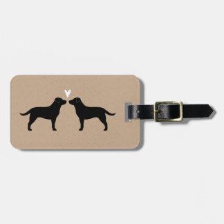 Black Labrador Retriever Silhouettes with Heart Luggage Tag
