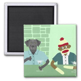 Black Labrador Retriever & Sock Monkey 2 Inch Square Magnet