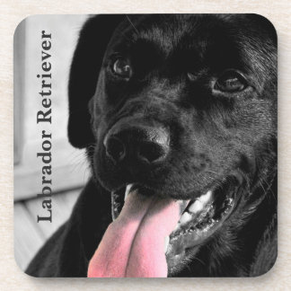 Black Labrador Retriever with Pink Tongue Drink Coaster