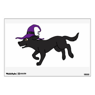 Black Labrador Retriever with Witch Hat Wall Decal