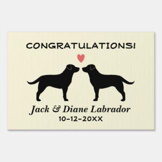 Black Labrador Retrievers Wedding Couple with Text Lawn Sign