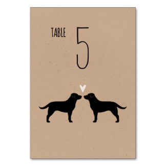 Black Labrador Retrievers Wedding Table Card