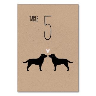 Black Labrador Retrievers Wedding Table Card