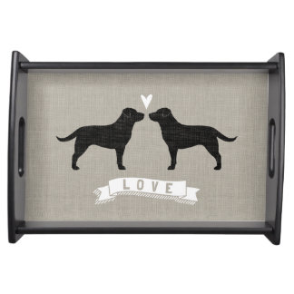 Black Labrador Retrievers with Heart and Love Serving Tray