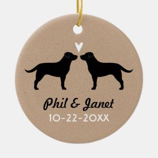 Black Labrador Retrievers with Heart and Text Ceramic Ornament