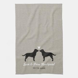 Black Labrador Retrievers with Heart and Text Towel