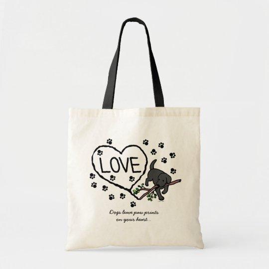 Black Labrador Sand Letters Cartoon Tote Bag
