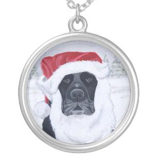 Black Labrador & Santa Hat Christmas Silver Plated Necklace