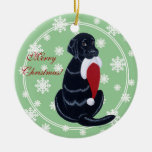 Black Labrador & Santa Hat Snowflake Christmas Ceramic Ornament