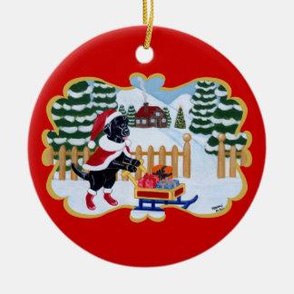 Black Labrador Santa Christmas Ornaments