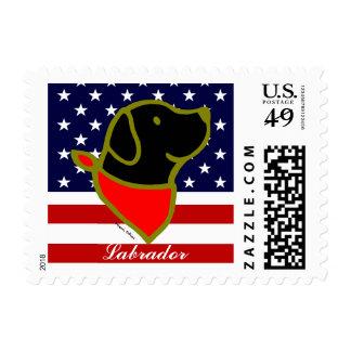 Black Labrador & Scarf Cartoon Postage Stamps