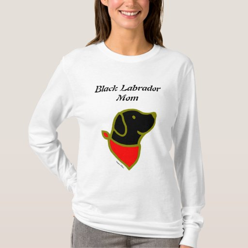 Black Labrador & Scarf Cartoon T-Shirt