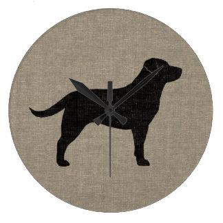 Black Labrador Silhouette   Faux Linen Style Large Clock