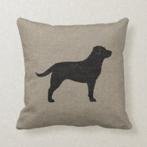Black Labrador Silhouette Faux Linen Style Throw Pillow