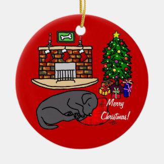 Black Labrador Sleeping Christmas Cartoon Christmas Tree Ornaments