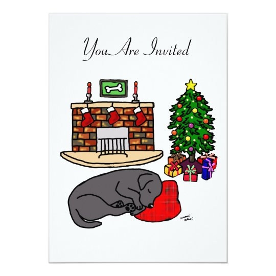 Black Labrador Sleeping Christmas Party Card