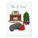 Black Labrador Sleeping Christmas Party 5x7 Paper Invitation Card