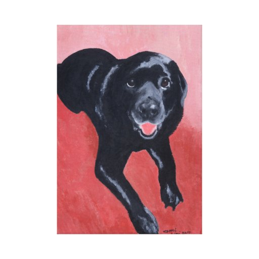 Black Labrador Smiling Artwork Canvas Print
