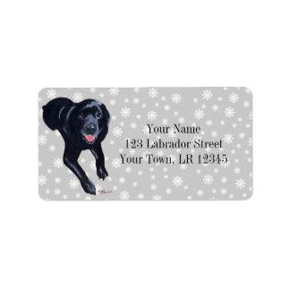 Black Labrador Smiling Label