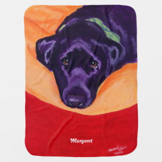 Black Labrador Staring Painting Baby Blanket