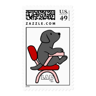 Black Labrador Student 1 Cartoon Postage