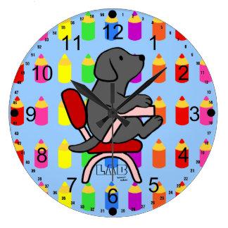 Black Labrador Student 1 Large Clock