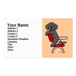 Black Labrador Student 3 Cartoon Double-Sided Standard Business Cards (Pack Of 100)