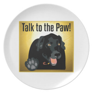 Black Labrador Talk To The Paw! Dinner Plate