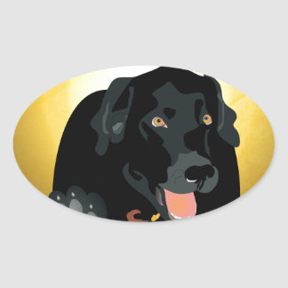 Black Labrador Talk To The Paw! Oval Sticker