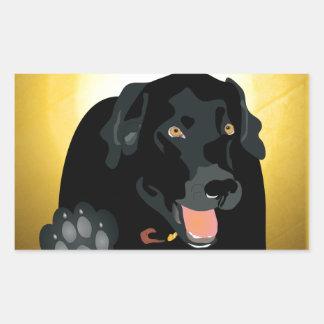 Black Labrador Talk To The Paw! Rectangular Sticker