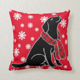 Black Labrador Tartan Scarf 2 Throw Pillow