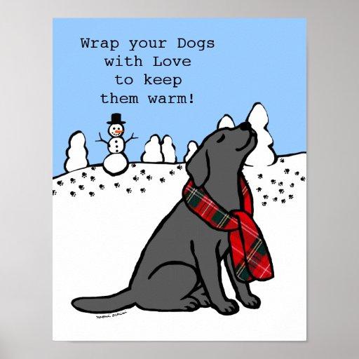 Black Labrador Tartan Scarf Poster