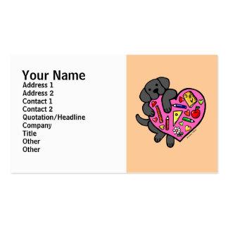 Black Labrador & Teacher's Heart Cartoon Double-Sided Standard Business Cards (Pack Of 100)