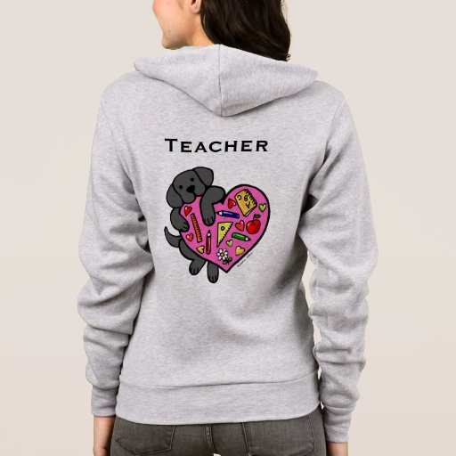 Black Labrador & Teacher's Heart Cartoon Hoodie
