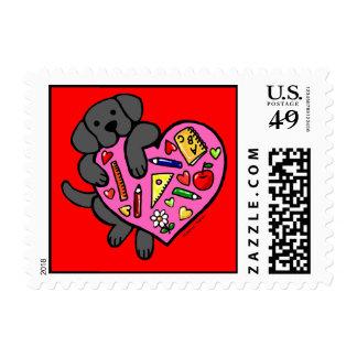 Black Labrador & Teacher's Heart Cartoon Postage