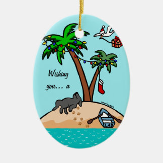 Black Labrador Tropical Christmas Christmas Tree Ornaments