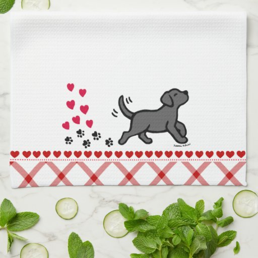 Black Labrador Trotting Kitchen Towel