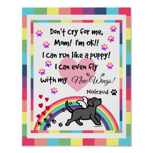 Black Labrador Trotting Memorial Print