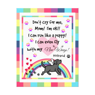 Black Labrador Trotting Rainbow Bridge art Canvas Print
