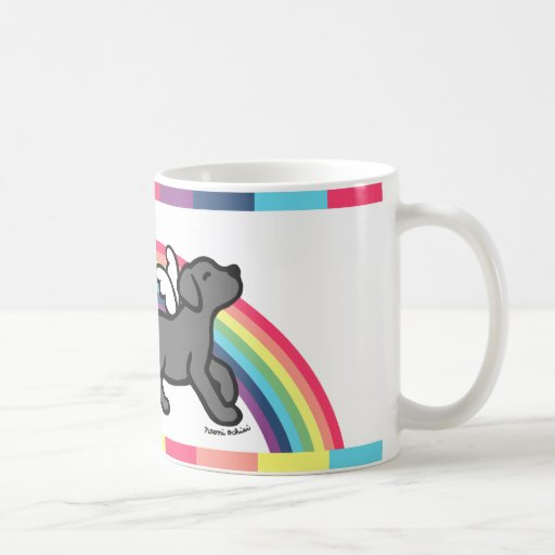Black Labrador Trotting Rainbow Bridge Mug