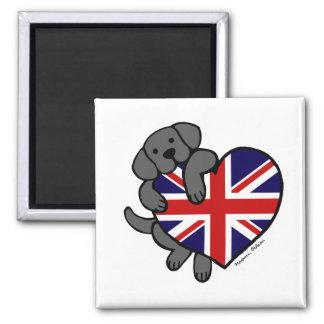 Black Labrador & UK Flag Heart 2 Cartoon 2 Inch Square Magnet