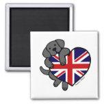 Black Labrador & UK Flag Heart 2 Cartoon Fridge Magnet