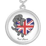 Black Labrador & UK Flag Heart 2 Cartoon Necklaces
